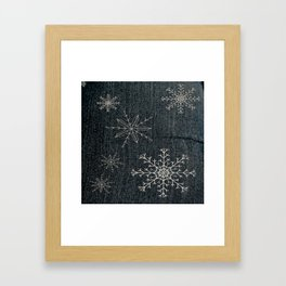 Denim Snowflake Framed Art Print
