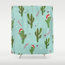 Cactus With Colorful Light Bulb. Merry Christmas and Happy New Year Seamless Pattern Shower Curtain