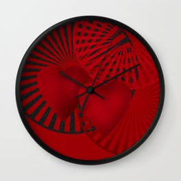 Love. The loving hearts . The red background . Wall Clock