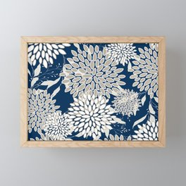 Festive, Floral Leaves and Blooms, Blue and Gray Framed Mini Art Print