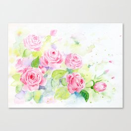 Watercolor Pink Rose Flowers Canvas Print