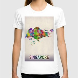 Singapore Map in Watercolor T-shirt