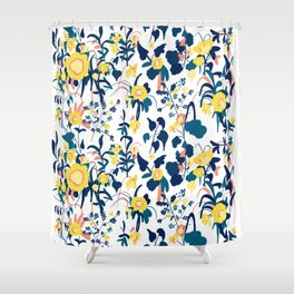 Buttercup yellow, salmon pink, and navy blue flowers on white background pattern Shower Curtain