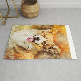 Watercolor portrait painting of a lovely Corgi pup! Rug