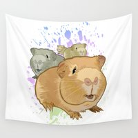 pigs Wall Tapestries featuring Guinea Pigs by Adamzworld