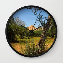 Italy, olive trees and an ancient abbey Wall Clock
