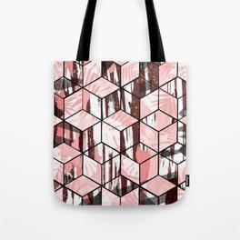 Tropical Pastel Geometric Cubes Design Tote Bag