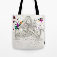 kris tate Tote Bags featuring ECHOES by Peter Striffolino and Kris Tate by Peter Striffolino