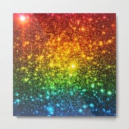 RainBoW Sparkle Stars Metal Print