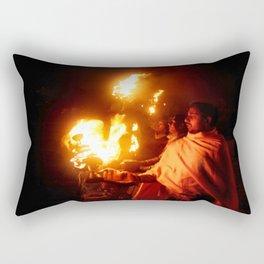 Fire on the Ganga River Rectangular Pillow