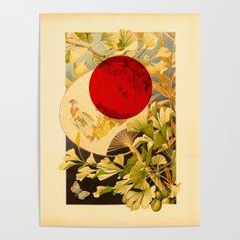 Japanese Ginkgo Hand Fan Vintage Illustration Poster