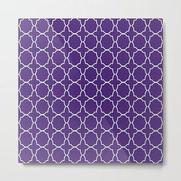 Indigo Purple Quatrefoil Pattern Metal Print
