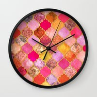 bedding Wall Clocks featuring Hot Pink, Gold, Tangerine & Taupe Decorative Moroccan Tile Pattern by micklyn