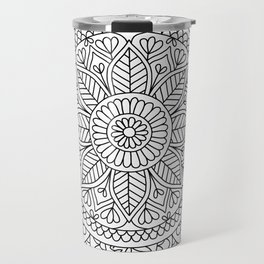 Mandala Heart with Flowers and Leaves for Adult Coloring Travel Mug