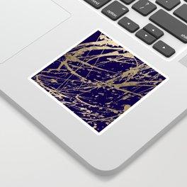 Elegant faux gold modern navy blue paint splatters Sticker