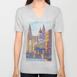 World famous Three Graces (Digital painting) Unisex V-Neck