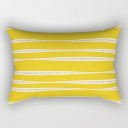 Abstract wavy stripes in mustard yellow, grey, and off-white Rectangular Pillow