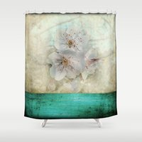 cherry blossom Shower Curtains featuring Cherry Blossom  by aRTsKRATCHES