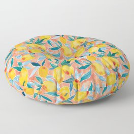 Lucky Lemons Watercolor Fruit Pattern in Peach and Yellow Floor Pillow