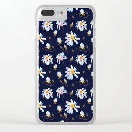 White Magnolia Clear iPhone Case
