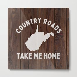West Virginia Country Roads State Map WV Take Me Home Rustic Wood Print Metal Print