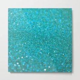 Bright Turquoise Glitter Metal Print