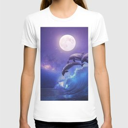 Night ocean with three playful dolphins leaping from sea on surfing wave and full moon shining T-shirt