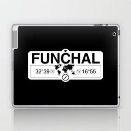 Funchal Madeira with World Map GPS Coordinates and Compass Laptop & iPad Skin