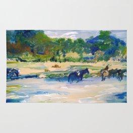 Chincoteague Horses painting Rug