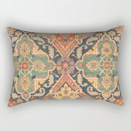 Geometric Leaves VIII // 18th Century Distressed Red Blue Green Colorful Ornate Accent Rug Pattern Rectangular Pillow