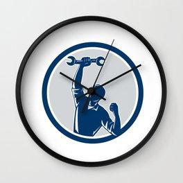 Mechanic Spanner Wrench Fist Pump Circle Wall Clock