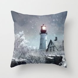 New England Winter Lighthouse Throw Pillow