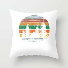 Vintage Scout Mountain Hiking Camping Forest Campers Hippie design Throw Pillow