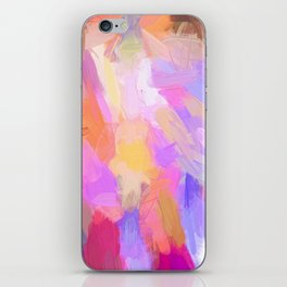Abstract magenta pink orange violet lilac watercolor brushstrokes iPhone Skin