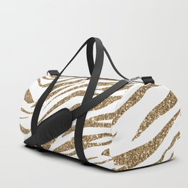 White & Glitter Animal Print Pattern Duffle Bag