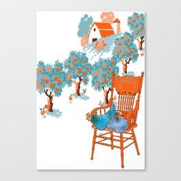 Farm Animals in Chairs #4 Chicken Canvas Print
