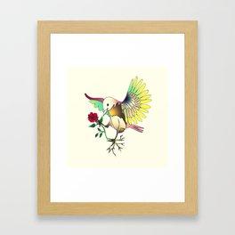 Flying with roses Framed Art Print