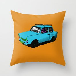 Trabant blue pop Throw Pillow