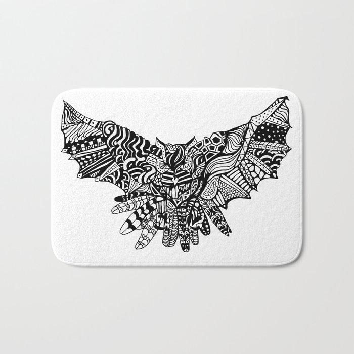 Dragon Owl (BW) Bath Mat