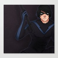 nightwing Canvas Prints featuring Nightwing by hazetty
