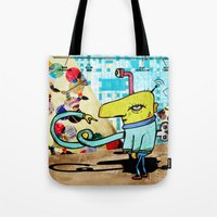 clockwork Tote Bags featuring Clockwork by jnk2007