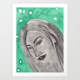girl infront of a gre bacground Art Print
