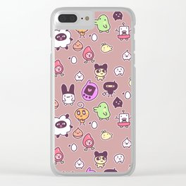 Tamagotchi Pattern Mocha Variant Clear iPhone Case