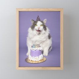 Happy Birthday Fat Cat In Party Hat With Cake Framed Mini Art Print