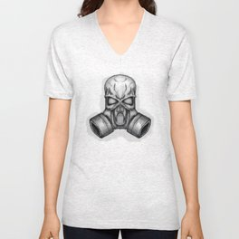 skull in gas mask Unisex V-Neck