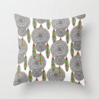 dream catcher Throw Pillows featuring Dream Catcher by Luna Portnoi