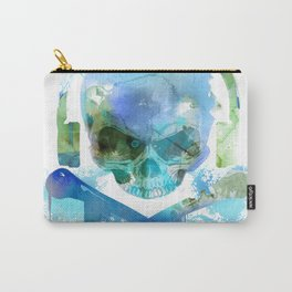Watercolour Skull & Crossbones with Headphones. Carry-All Pouch