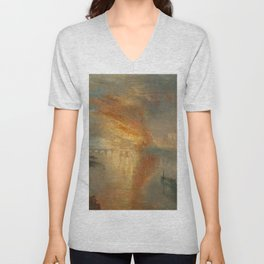 The Burning of the Houses of Lords and Commons, 16 October 1834- Joseph Mallord WIlliam Turner Unisex V-Neck