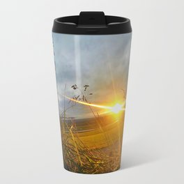 Icelandic Sunset from the Grass Roof of a Turf Farmhouse (2) Travel Mug