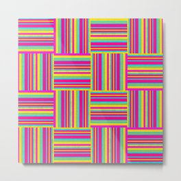 Neon Multicolored Weaved Squares Metal Print